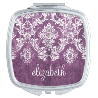 Purple Plum Grunge Damask Pattern with Name Mirrors For Makeup