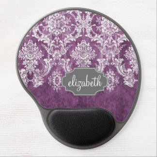 Purple Plum Grunge Damask Pattern with Name Gel Mouse Mat