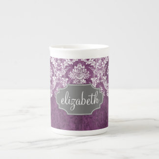 Purple Plum Grunge Damask Pattern with Name Tea Cup