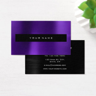 Purple Plum Metallic Black Fashion Stylist Business Card