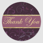 Purple & Plum Thank You Sticker/Seal Round Sticker