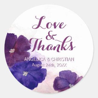 Purple Plum Violet Floral Wedding Love & Thanks Classic Round Sticker