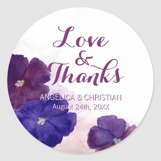 Purple Plum Violet Floral Wedding Love & Thanks