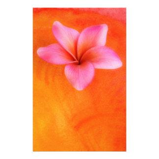 Purple Plumeria Tropical Frangipani Flower Orange Stationery