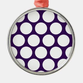 Purple Pois! Silver-Colored Round Decoration