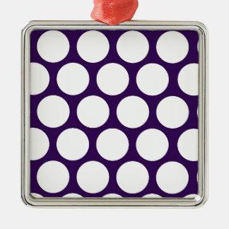 Purple Pois! Silver-Colored Square Decoration