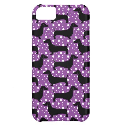 Purple Polka Dachshunds iPhone 5C Cases