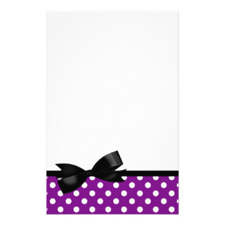 Purple Polka Dot and Black Bow Stationery