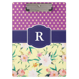 Purple Polka Dot and Yellow Floral Clipboard