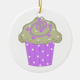 Purple Polka Dot Cupcake Christmas Ornament