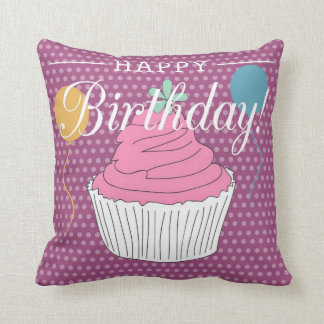 Purple Polka Dot Happy Birthday Cupcake & Balloons Cushion