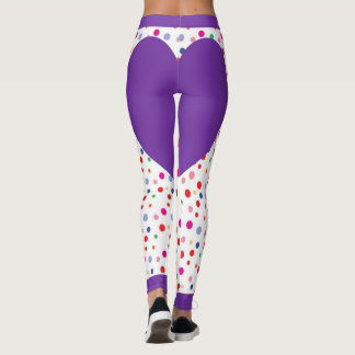 Purple Polka Dot Heart Leggings