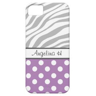 Purple Polka Dot Light Zebra Print iPhone 5 Case