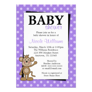 Purple Polka Dot Monkey Baby Shower Invitations
