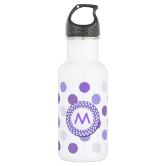 Purple Polka Dot Monogram 532 Ml Water Bottle