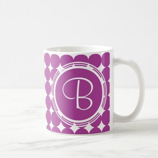 Purple Polka Dot Monogram Coffee Mug
