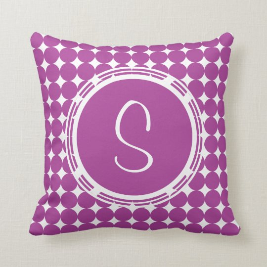 Purple Polka Dot Monogram Cushion