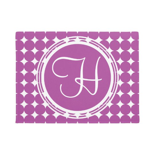 Purple Polka Dot Monogram Doormat