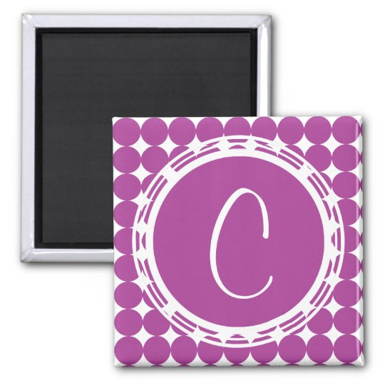 Purple Polka Dot Monogram Magnet