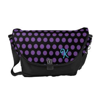 Purple Polka Dot Monogram Messenger Bag