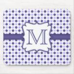 Purple Polka Dot Monogram Mousepad
