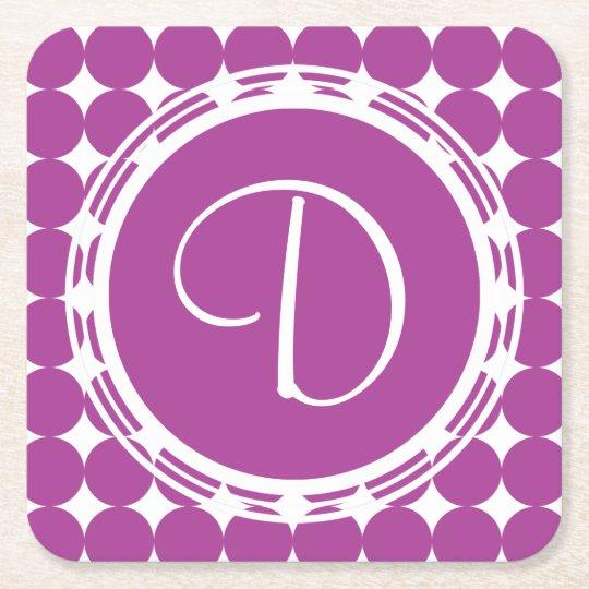 Purple Polka Dot Monogram Square Paper Coaster
