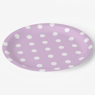 Purple Polka Dot Paper Plate