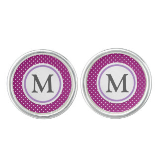 Purple Polka Dot Pattern Cuff Links