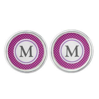 Purple Polka Dot Pattern Cufflinks