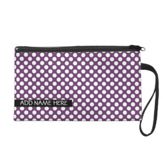 Purple Polka Dot Pattern with Name Wristlets