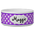 Purple Polka Dot Personalised Ceramic Dog Bowl
