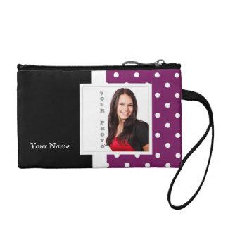 Purple polka dot photo template coin wallets