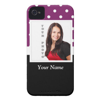 Purple polka dot photo template iPhone 4 Case-Mate cases