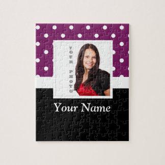 Purple polka dot photo template jigsaw puzzle