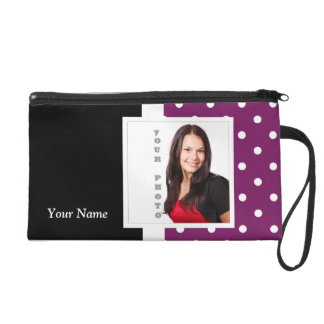 Purple polka dot photo template wristlet purses