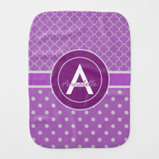 Purple Polka Dot Quatrefoil Burp Cloth