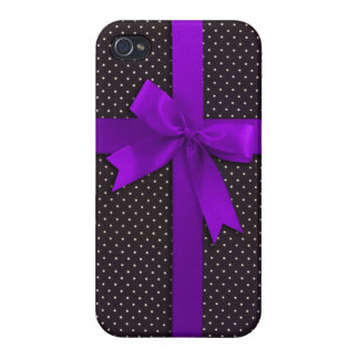 Purple Polka Dot Ribbon iPhone 4 Case