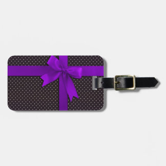 Purple Polka Dot Ribbon Luggage Tag