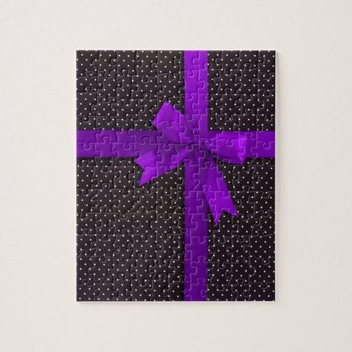 Purple Polka Dot Ribbon Puzzles