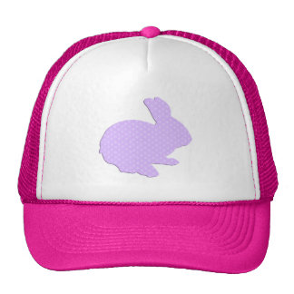 Purple Polka Dot Silhouette Easter Bunny Hat