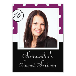 "Purple polka dot sweet 16 6.5"" x 8.75"" invitation card"