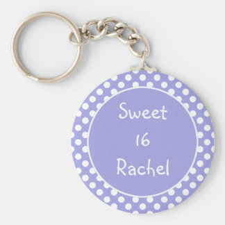Purple Polka Dot Sweet 16 Keychain