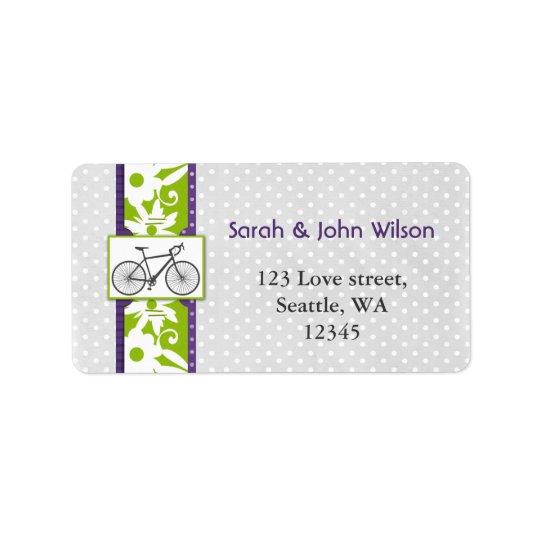 purple  polka dots bicycle return address label