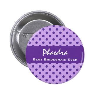 Purple Polka Dots Bridesmaid Custom Wedding Gift 1 6 Cm Round Badge