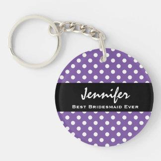 Purple Polka Dots Bridesmaid Custom Wedding Gift 1 Double-Sided Round Acrylic Key Ring