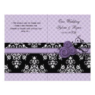purple polka dots floral book fold Wedding program 21.5 Cm X 28 Cm Flyer