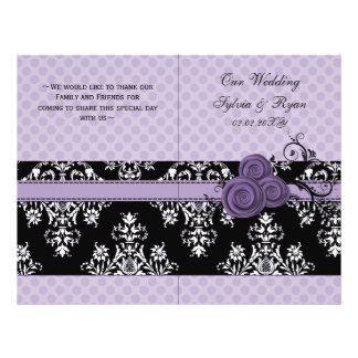 purple polka dots floral book fold Wedding program Flyers