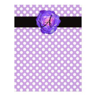 Purple polka dots monogram purple rose full colour flyer