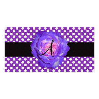Purple polka dots monogram purple rose photo card template