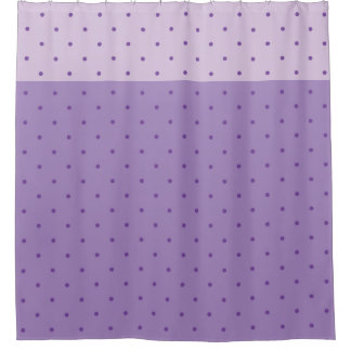 Purple Polka Dots on Lighter Purple Shower Curtain